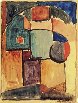 <em>Nature morte</em>, 1915<br /> Lavis et encre brune, aquarelle sur papier<br /> 26,7 x 20,6 cm<br /> Acquis en 1975 (inv. AM 1975-274)