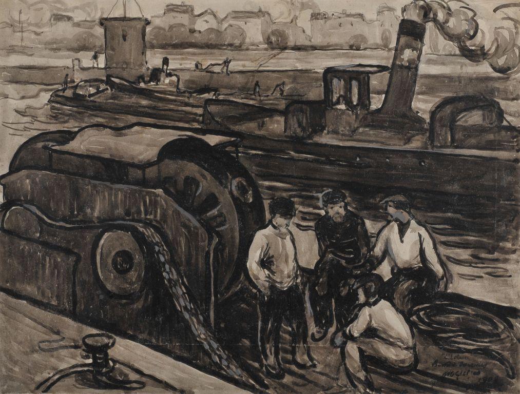 <em>L'Ecluse de Suresnes</em>, 1908<br /> Mine graphite, lavis d'encre et gouache sur carton<br /> 31,1 x 41 cm<br /> Acquis en 2012 (inv. 2012.8.1)<br /> Photo Jean Bernard