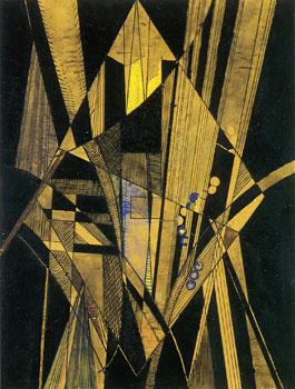 <em>Brooklin Bridge</em>, 1915<br /> Crayon, encre noire, lavis, aquarelle et gouache sur papier calque collé sur carton<br /> 25 x 19 cm<br /> Collection particulière