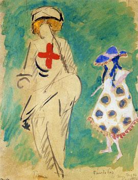 <em>Titania et Fleur de pois</em>, 1915<br /> Aquarelle, gouache, plume et encre brune sur papier collé sur carton<br /> 26 x 20,4 cm<br /> Don de Juliette Roche-Gleizes, 1954 (inv. 1954-126)
