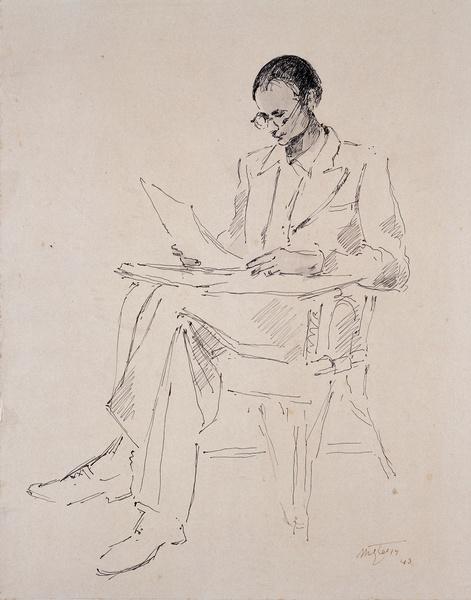 <em>Jean Chevalier lisant</em>, 1943<br /> Encre et lavis collé en plein sur carton<br /> 40,5 x 31 cm<br /> Don Jean Chevalier, 1997 (inv. MG 2002-15-R)