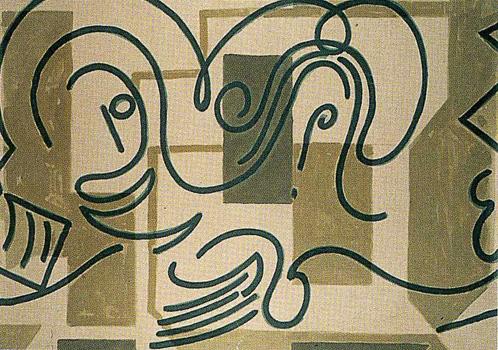 IV. <em>Jésus rencontre sa mère</em>, 1951<br /> Gouache sur carton<br /> 77 x 106,8 cm<br /> Don de Juliette Roche-Gleizes, 1954 (inv. 1954-145)