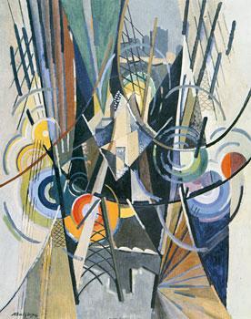 <em>Brooklin Bridge</em>, 1915<br /> Huile et technique mixte sur toile<br /> 102 x 102 cm<br /> New York, Solomon R. Guggenheim Museum