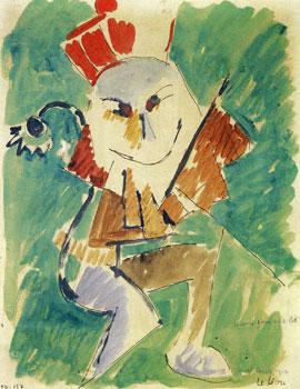 <em>Le Lion</em>, 1915<br /> Aquarelle, gouache, plume et encre brune sur papier<br /> 27,1 x 21,1 cm<br /> Don de Juliette Roche-Gleizes, 1954 (inv. 1954-127)