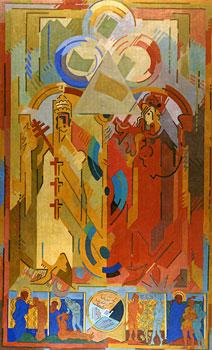 <em>Autorité spirituelle et pouvoir temporel</em>, 1939-1940<br /> Huile sur toile<br /> 336 x 203 cm<br /> Don de Juliette Roche-Gleizes, 1954 (inv. 1954-121)