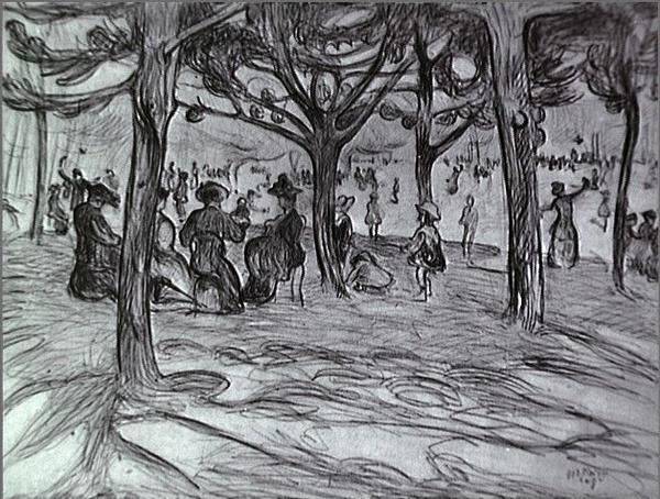 <em>L'Ile de la Grande Jatte</em>, 1908<br /> Fusain et gouache sur papier<br /> 28,2 x 38 cm<br /> Acquis en 1975 (inv. AM 1975-273)