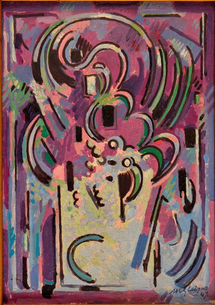 <em>Formes</em>, 1947<br /> Huile sur carton<br /> 21 x 15 cm<br /> Acquis en 1947 (inv. Bx E 1716)<br /> Photo Lysiane Gauthier