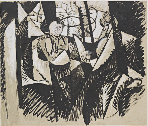 <em>Etude pour </em>Femmes à une fenêtre, 1914<br /> Encre et gouache sur papier<br /> 46,6 x 54,2 cm<br /> Given anonimously (by exchange), 1979 (inv. 929.1979)