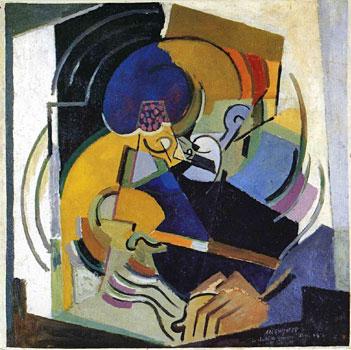 <em>Le Chant de guerre. Portrait de Florent Schmitt</em>, 1915<br /> Huile sur toile<br /> 101 x 101 cm<br /> Paris, Centre Georges Pompidou / Musée national d'Art moderne