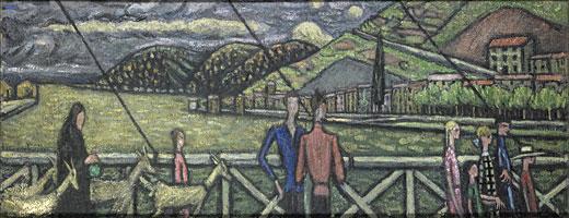 <em>Serrières</em>, 1911<br /> Huile sur toile<br /> 31 x 90 cm<br /> Paris, Fondation Albert Gleizes