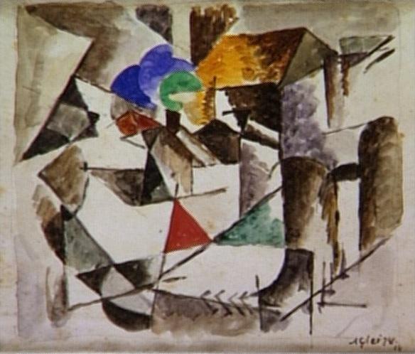 <em>Paysage de Toul</em>, 1914<br /> Aquarelle sur papier calque marouflé sur carton<br /> 17 x 20,5 cm<br /> Donation Germaine Henry – Robert Thomas, 1976 (inv. AMD 927)