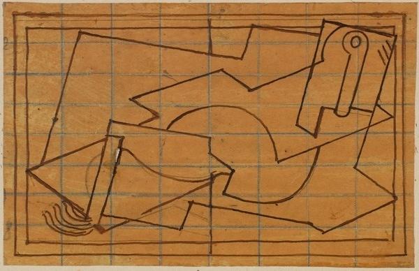 <em>Composition</em>, vers 1920-1922<br /> Encre brune sur papier calque mis au carreau au crayon bleu<br /> 9,6 x 15 cm<br /> Acquis en 1975 (inv. AM 1975-270)