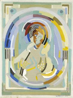 <em>Figure dans un arc-en-ciel</em>, 1934<br /> Gouache sur carton<br /> 27 x 24,8 cm<br /> Legs André Dubois, 2004 (inv. 2005-19)