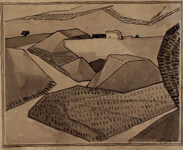 <em>Paysage</em>, 1910<br /> Encre et lavis sur papier<br /> 37 x 46 cm<br /> Acquis en 2003 (inv. 2003.16)