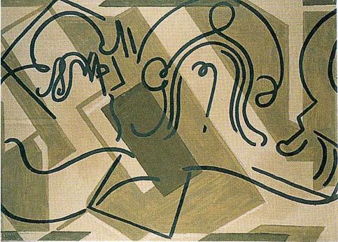 V. <em>Simon de Cyrène aide Jésus à porter sa croix</em>, 1951<br /> Gouache sur carton<br /> 77 x 106,8 cm<br /> Don de Juliette Roche-Gleizes, 1954 (inv. 1954-144)