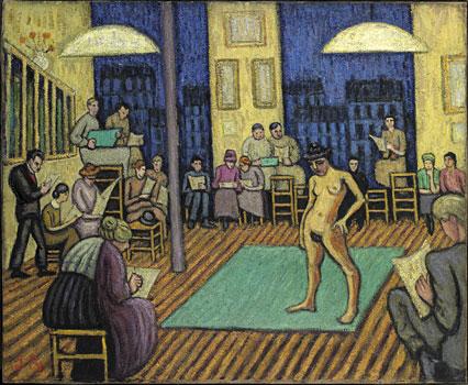 <em>Modèle à l'atelier</em>, 1911<br /> Huile sur toile<br /> 60 x 73,3 cm<br /> Paris, Fondation Albert Gleizes