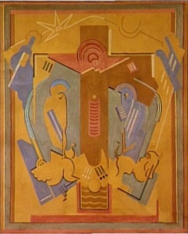 <em>Le Christ en croix</em>, 1927<br /> Projet de décor pour l'église Sainte-Blanche de Serrières (Ardèche)<br /> Peinture à la colle sur toile<br /> 213 x 175 cm<br /> Don de Juliette Roche-Gleizes, 1964 (inv. AM 4222 P)<br /> En dépôt au musée des Ursulines à Mâcon depuis 1986