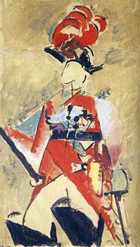 <em>Thésée</em>, 1915<br /> Aquarelle, gouache, plume et encre brune (ou noire) sur papier collé sur carton<br /> 34,5 x 21 cm<br /> Don de Juliette Roche-Gleizes, 1954 (inv. 1954-134)