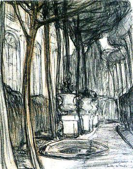<em>Le Pavillon des Muses</em>, 1908<br /> Fusain et sanguine sur papier<br /> 26,1 x 21 cm<br /> Don de l'Association des Amis du musée, 2002 (inv. 2002-3)
