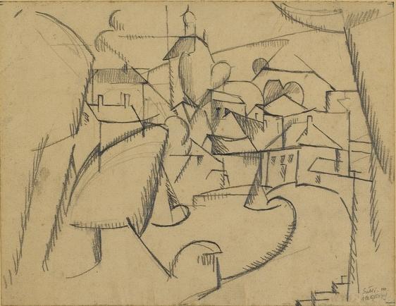 <em>Sablé</em>, 1910<br /> Crayon sur papier<br /> 22,9 x 29,7 cm<br /> Acquis en 1975 (inv. AM 1975-276)