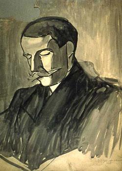 <em>Alexandre Mercereau</em>, 1908<br /> Lavis d'encre noire sur carton<br /> 64,3 x 49,2 cm<br /> Acquis en 1975 (inv. AM 1975-280)