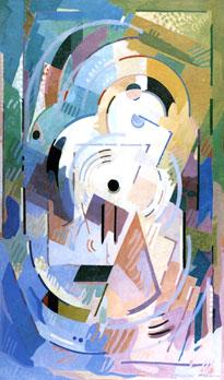 <em>Contemplation</em>, 1942<br /> Huile sur papier marouflé sur toile<br /> 217 x 132 cm<br /> Don Juliette Roche-Gleizes, 1963 (inv. 63.1668)