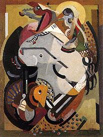 <em>Sur un thème du cirque</em>, 1917<br /> Huile sur bois<br /> 101 x 76,4 cm<br /> Legs Saisie A. May, 1951 (inv. 1951.304)