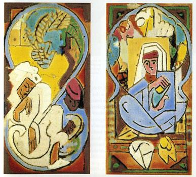 <em>Deux plaques </em>: Marocains, vers 1940-1941<br/> Emaux sur plaque de grès industriel<br/> 23 x 13 chacune<br/> Lyon, musée des Beaux-Arts <br/>