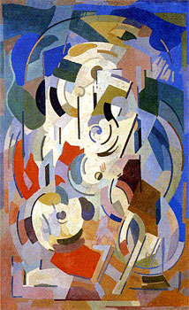 <em>Support de contemplation</em>, 1944<br /> Peinture à la colle sur toile<br /> 212 x 132 cm<br /> Don Juliette Roche-Gleizes, 1964 (inv. AM 4221 P)