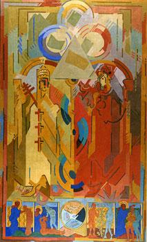 <em>Autorité spirituelle et pouvoir temporel</em>, 1939-1940<br /> Huile sur toile<br /> 3,360 x 2,030 m<br /> Lyon, musée des Beaux-Arts<br /> Photo Alain Basset