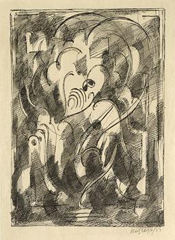 <em>Arabesque</em>, 1951<br /> Encre et lavis sur papier<br /> 27 x 20 cm<br /> Legs André Dubois, 2004 (inv. 2005-25)