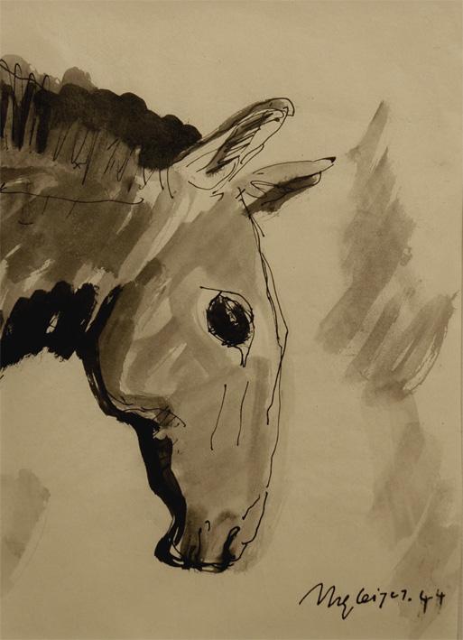 <em>Tête de cheval</em>, 1944<br /> Encre et lavis sur papier<br /> 21 x 15,5 cm<br /> Acquis en 2001 (inv. 2001.8)