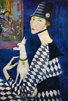 <em>Portrait de l'artiste à l'estampe japonaise</em>, 1917<br /> Huile sur toile<br /> Dimensions inconnues<br /> Non localisé