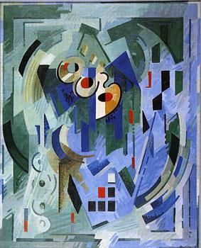 <em>Pour l'esprit - Les Verts</em>, 1939<br /> huile sur toile<br /> 183 x 148 cm<br /> Collection particulière