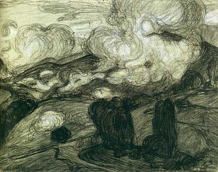 <em>Nuages bas dans la montagne </em>(Bagnères-de-Bigorre)<br /> 1908<br /> Fusain et craie blanche sur papier collé en plein<br /> 24,3 x 30,7 cm<br /> Paris, Centre Georges Pompidou / Musée national d'Art moderne