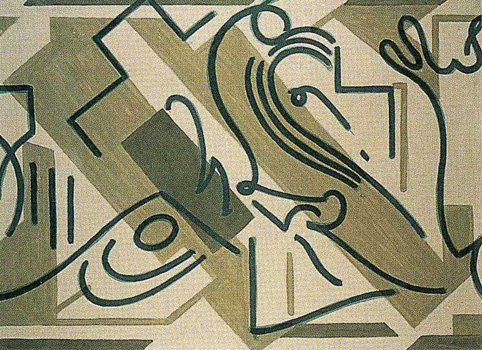 II. <em>Jésus chargé de la Croix</em>, 1951<br /> Gouache sur carton<br /> 77 x 106,8 cm<br /> Don de Juliette Roche-Gleizes, 1954 (inv. 1954-147)
