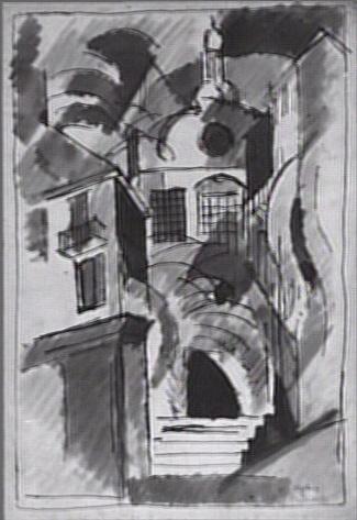 <em>Paysage des Bermudes</em>, 1917<br /> Lavis et encre bleue sur papier<br /> 32,5 x 22,3 cm<br /> Acquis en 1978 (inv. AM 1978-291)