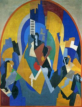 <em>Peinture pour une gare (Moscou)</em>, 1920<br /> Huile sur toile<br /> 357 x 276 cm<br /> Musée de Grenoble