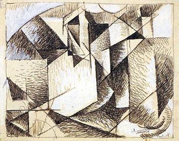 <em>Paysage de Toul</em>, 1915<br /> Encre brune et rehauts de gouache blanche sur papier<br /> 12,5 x 26 cm<br /> Don de M. et Mme Livengood, 1954 (inv. AM 1890 D)