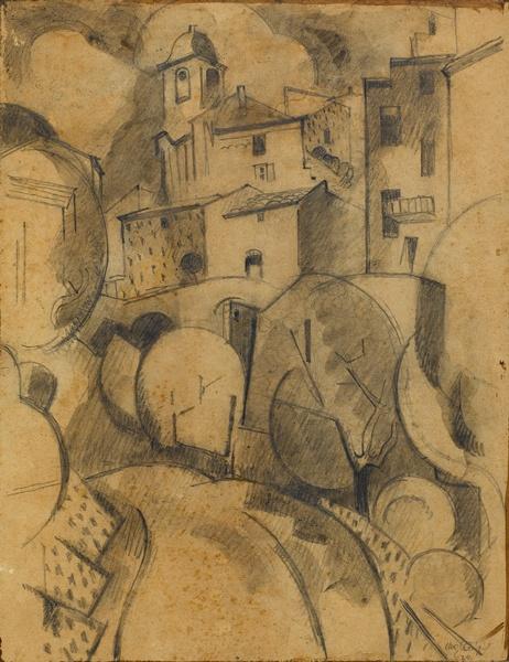 <em>Vue de Serrières</em>, 1924<br /> Crayon et rehauts de lavis gris sur papier<br /> 26,5 x 20,2 cm<br /> Acquis en 1975 (inv. AM 1975-267)