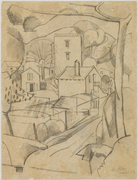 <em>Maison à Cavalaire</em>, 1922<br /> Crayon et rehauts de lavis gris sur papier<br /> 27,4 x 20,9 cm<br /> Acquis en 1975 (inv. AM 1975-266)