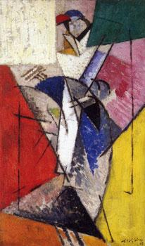 <em>La Parisienne (Juliette Roche)</em>, 1915<br /> Huile sur toile<br /> 62 x 37 cm<br /> Don de Juliette Roche-Gleizes, 1954 (inv. 1954-119)