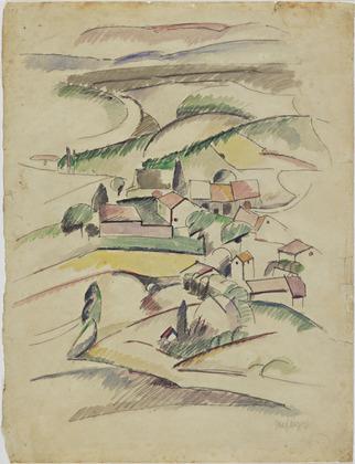 <em>Paysage</em>, vers 1920<br /> Mine graphite et aquarelle sur papier<br /> 31 x 23,9 cm<br /> The Joan and Lester Avnet Collection, 1978 (inv. 86.1978)