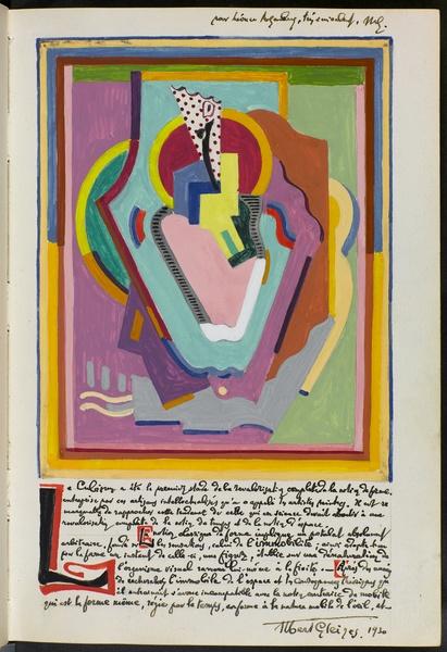 <em>Page du livre d'or de Léonce Rosenberg</em>, 1930<br /> Gouache sur papier<br /> 22 x 15 cm<br /> Legs de Lucienne Rosenberg, 1995 (AM 2000-206(14))