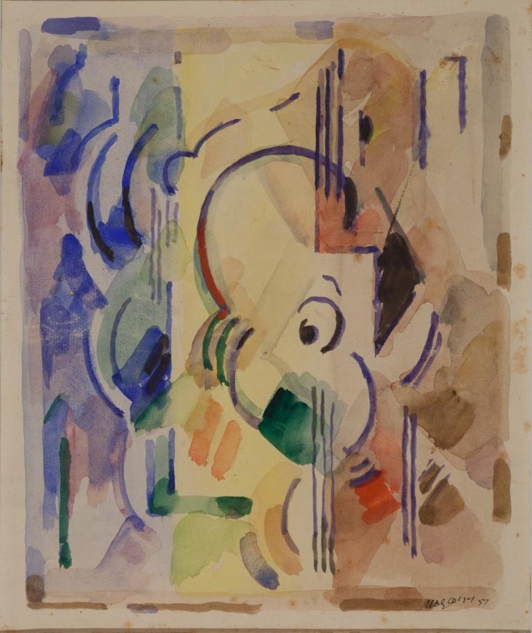 <em>Composition</em>, 1951<br /> Aquarelle sur papier<br /> 36 x 30 cm<br /> Acquis en 2000 (inv. 2000.12)