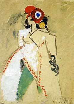 <em>Hippolyte</em>, 1915<br /> Aquarelle, gouache, plume et encre brune sur papier collé sur carton<br /> 26,6 x 19,5 cm<br /> Don de Juliette Roche-Gleizes, 1954 (inv. 1954-130)