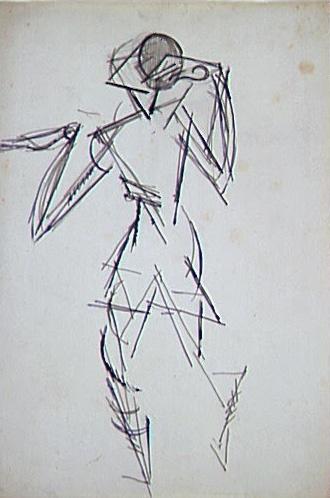 <em>Etude pour le portrait de Jean Cocteau</em>, vers 1916<br /> Crayon et encre bleue sur papier<br /> 31,3 x 21,4 cm<br /> Acquis en 1975 (inv. AM 1975-277)