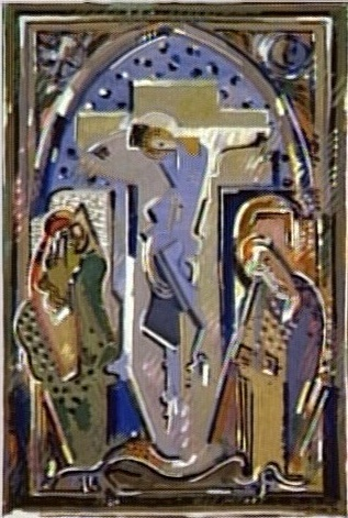 <em>Crucifixion</em>, 1930<br /> Gouache sur papier<br /> 24 x 16 cm<br /> Attribution du Fonds national d'Art contemporain, 1938 (inv. AM 1357 D)