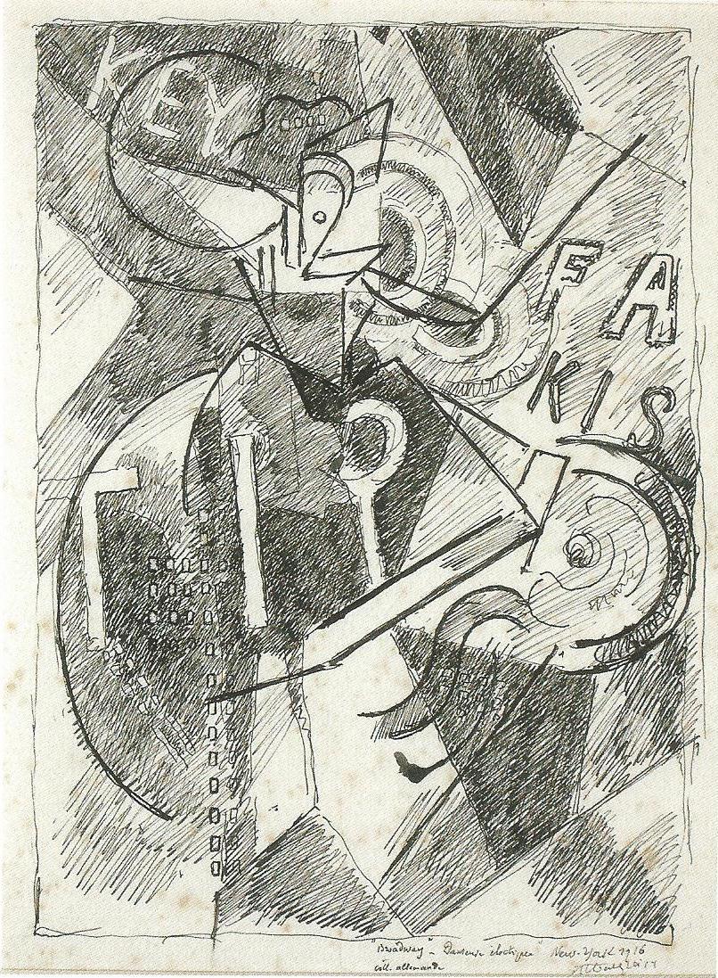 <em>Broadway, danseuse électrique</em>, 1916<br /> Encre sur papier<br /> 27 x 20 cm<br /> Acquis en 2008 (inv. MNB 2008.1.2)