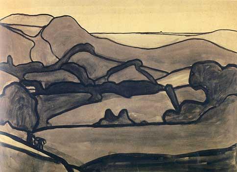 Paysage des Pyrénées, 1909<br /> Crayon et lavis d'encre noire sur carton<br /> 47,5 x 34,6 cm<br /> Paris, Fondation Albert Gleizes